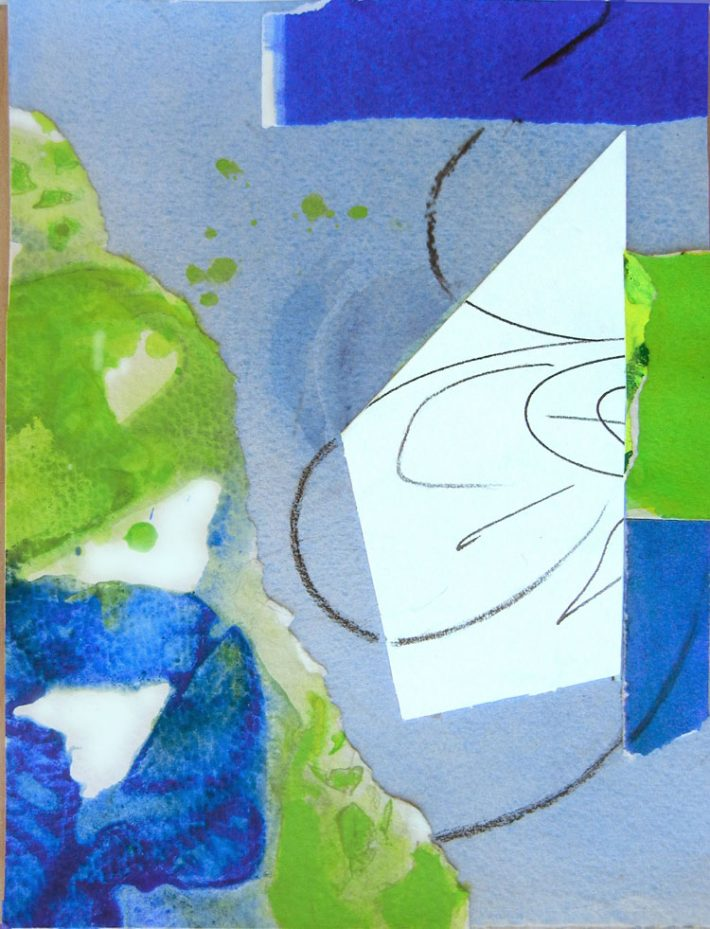 Collage Art by Margaret Hyde - A Creative Mind - is an abstract image with an inspirational theme and a blue color palette