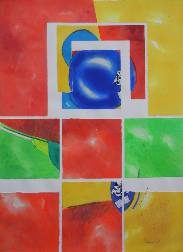 Collage Art by Margaret Hyde - Big Games - is an abstract image with a vivid color palette and a playful design