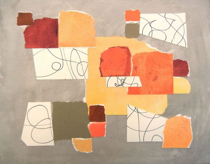 Collage art by Margaret Hyde - Inventing a Future - is an abstract image with an inspirational theme and a gray background