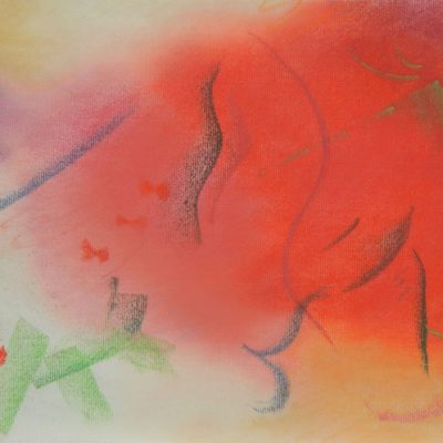 Pastel Art by Margaret Hyde - Great Potential - abstract image with playful design in red color palette