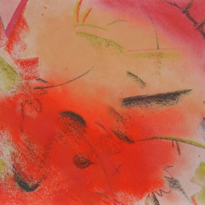 Pastel Art by Margaret Hyde - Zest for Life is an abstract image with flowing energy in a red color palette