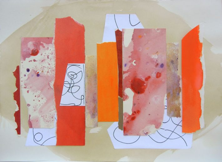 Collage Art by Margaret Hyde-Many Doors Many Paths-is an abstract image with an inspirtional theme in vivid colors
