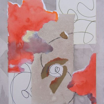 Collage Art by Margaret Hyde-MindPower-is an abstract image with an inspirational theme. It has flowing energy and circular motion.