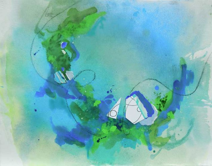Mixed Media Art by Margaret Hyde - Waves of Energy - is an abstract image with circular motion and flowing energy abstract mixed media by Margaret Hyde