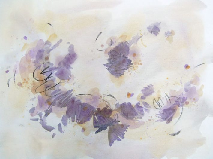 Mixed Media Art by Margaret Hyde - Lively Spirit - is an abstract image with flowing energy and circular motion