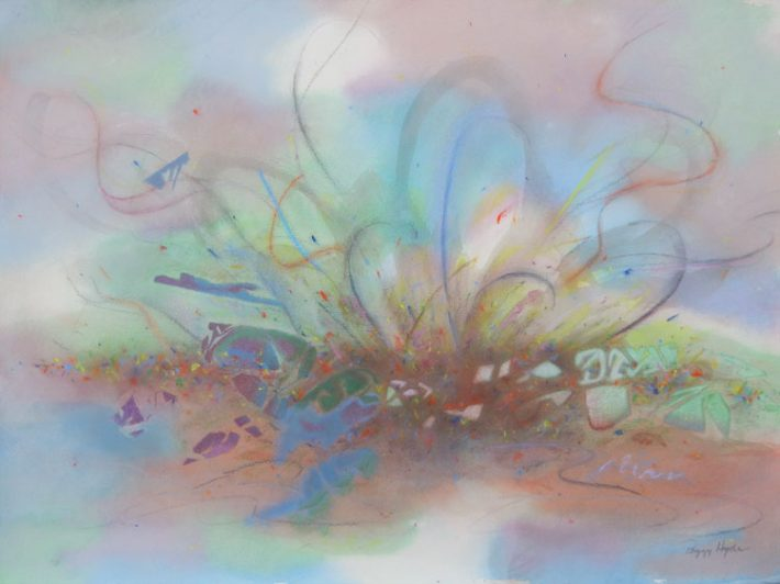 Mixed Media Art by Margaret Hyde - Burst of Creationis an abstract image with flowing lines and circular motion