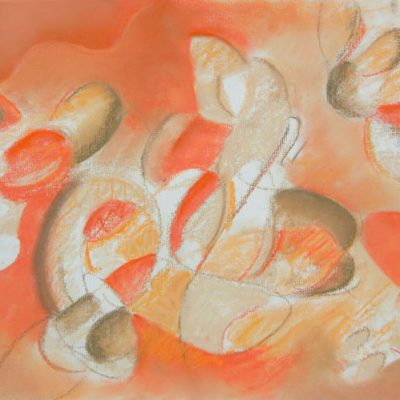 Pastel art by Margaret Hyde-Reving Up for Victory-is a soft pastel drawing of an abstract image with flowing energy in an orange color palette